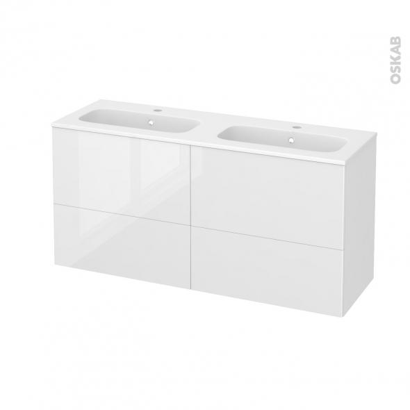 Meuble de salle de bains - Plan double vasque REZO - STECIA Blanc - 4 tiroirs - Côtés décors - L120,5 x H58,5 x P40,5 cm