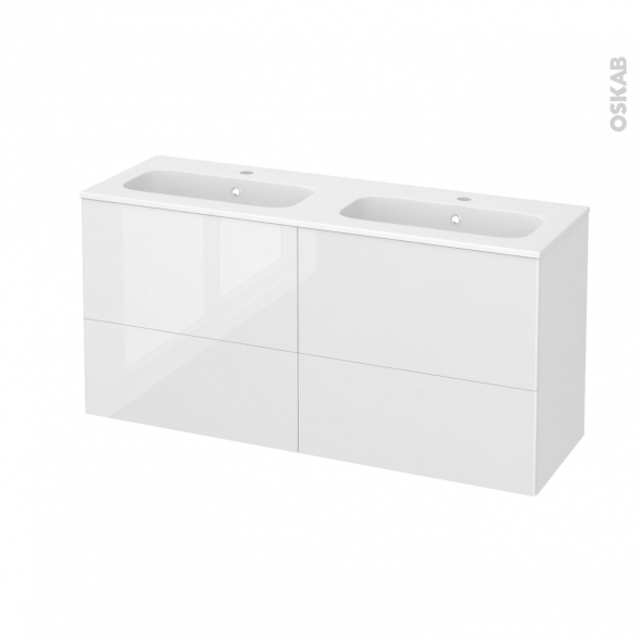 STECIA Blanc - Meuble salle de bains N°672 - Double vasque REZO - 4 tiroirs Prof.40 - L120,5xH58,5xP40,5