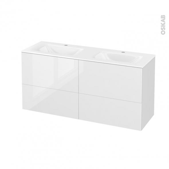 STECIA Blanc - Meuble salle de bains N°672 - Double vasque VALA - 4 tiroirs Prof.40 - L120,5xH58,2xP40,5