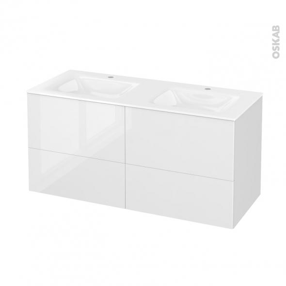 Meuble de salle de bains - Plan double vasque VALA - STECIA Blanc - 4 tiroirs - Côtés décors - L120,5 x H58,2 x P50,5 cm