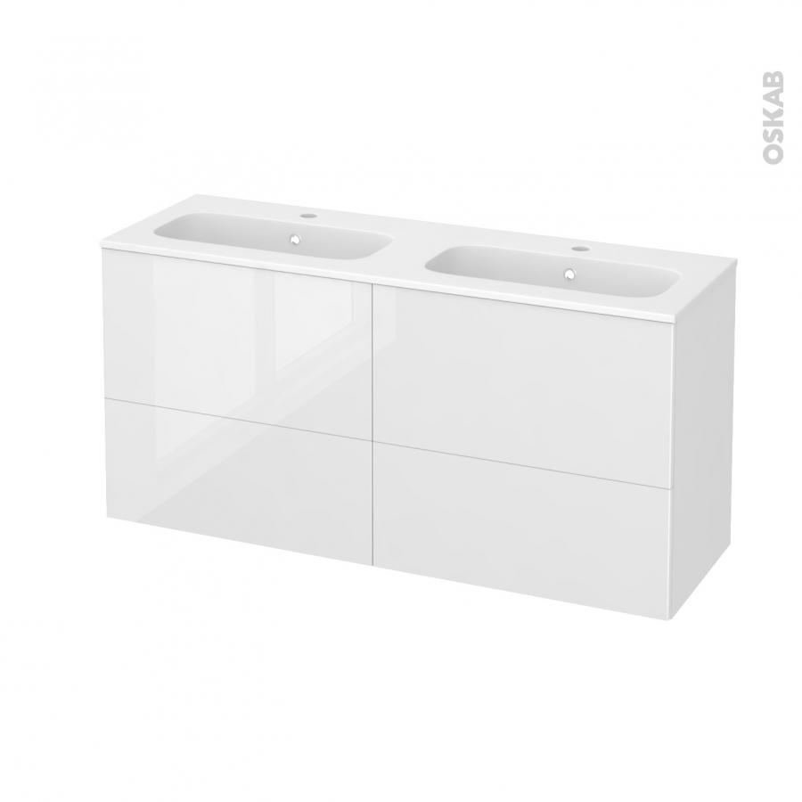 Meuble de salle de bains plan double vasque rezo bora for Meuble salle de bain double vasque 4 tiroirs