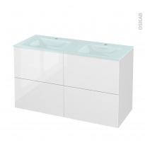 Meuble de salle de bains - Plan double vasque EGEE - STECIA Blanc - 4 tiroirs - Côtés décors - L120,5 x H71,2 x P50,5 cm