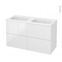 Meuble de salle de bains - Plan double vasque REZO - BORA Blanc - 4 tiroirs - Côtés décors - L120,5 x H71,5 x P50,5 cm