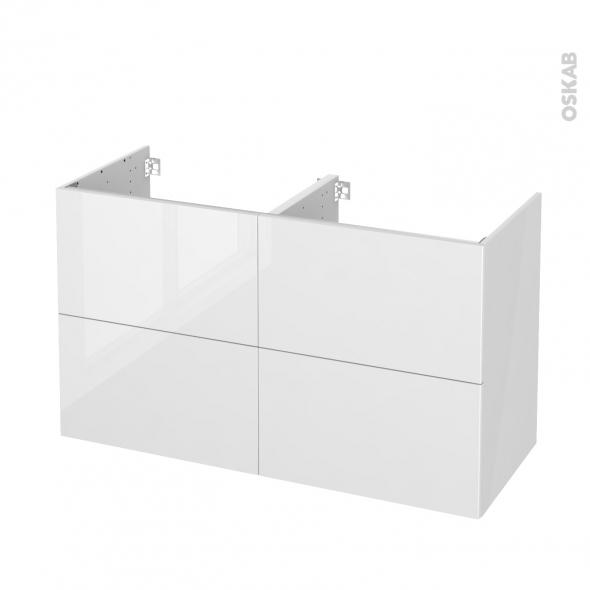STECIA Blanc - Meuble sous vasque N°721 - Côté blanc - Double vasque - 4 tiroirs - L120xH70xP50