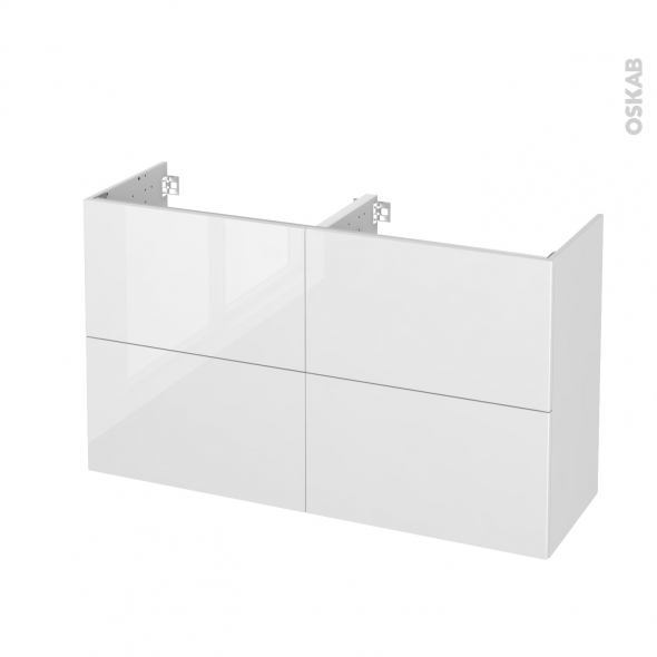 STECIA Blanc - Meuble sous vasque N°722 - Côté décor - Double vasque - 4 tiroirs prof.40 - L120xH70xP40