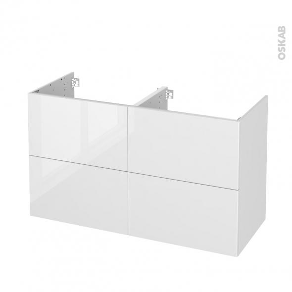 STECIA Blanc - Meuble sous vasque N°722 - Côté décor - Double vasque - 4 tiroirs - L120xH70xP50
