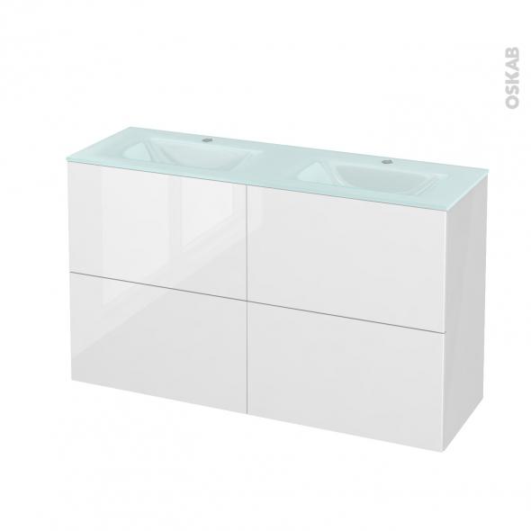 Meuble de salle de bains - Plan double vasque EGEE - STECIA Blanc - 4 tiroirs - Côtés blancs - L120,5 x H71,2 x P40,5 cm