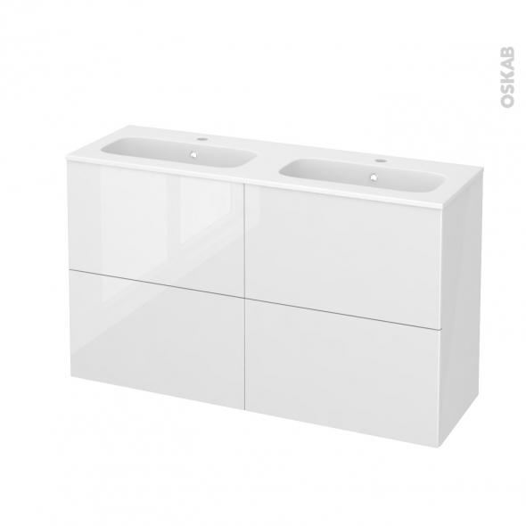 Meuble de salle de bains - Plan double vasque REZO - STECIA Blanc - 4 tiroirs - Côtés blancs - L120,5 x H71,5 x P40,5 cm