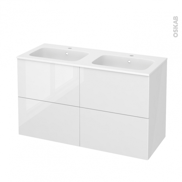 STECIA Blanc - Meuble salle de bains N°721 - Double vasque REZO - 4 tiroirs  - L120,5xH71,5xP50,5