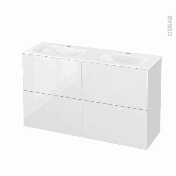 STECIA Blanc - Meuble salle de bains N°721 - Double vasque VALA - 4 tiroirs Prof.40 - L120,5xH71,2xP40,5