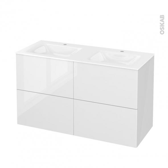 STECIA Blanc - Meuble salle de bains N°721 - Double vasque VALA - 4 tiroirs  - L120,5xH71,2xP50,5