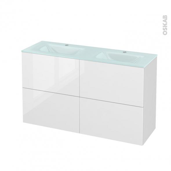 Meuble de salle de bains - Plan double vasque EGEE - STECIA Blanc - 4 tiroirs - Côtés décors - L120,5 x H71,2 x P40,5 cm