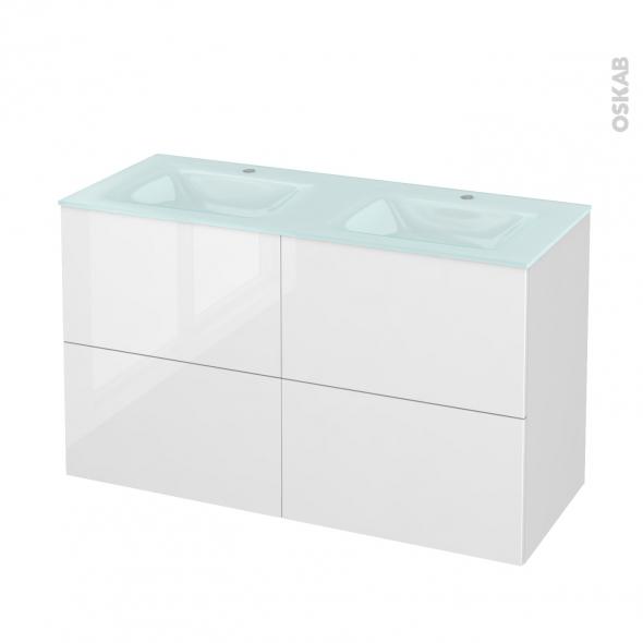 STECIA Blanc - Meuble salle de bains N°722 - Double vasque EGEE - 4 tiroirs  - L120,5xH71,2xP50,5