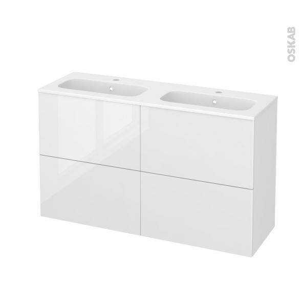 Meuble de salle de bains - Plan double vasque REZO - STECIA Blanc - 4 tiroirs - Côtés décors - L120,5 x H71,5 x P40,5 cm