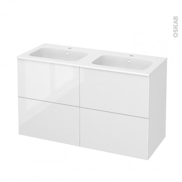 Meuble de salle de bains - Plan double vasque REZO - BORA Blanc - 4 tiroirs - Côtés décors - L120.5 x H71.5 x P50.5 cm