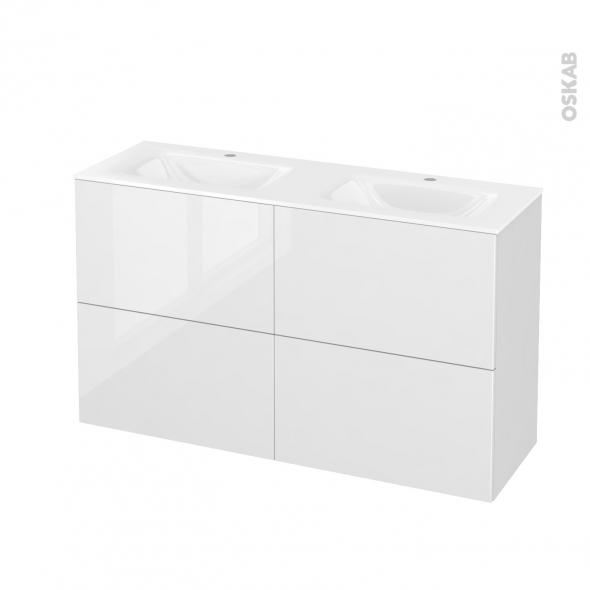 Meuble de salle de bains - Plan double vasque VALA - STECIA Blanc - 4 tiroirs - Côtés décors - L120,5 x H71,2 x P40,5 cm