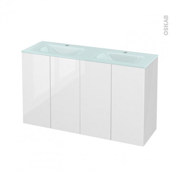 Meuble de salle de bains - Plan double vasque EGEE - STECIA Blanc - 4 portes - Côtés blancs - L120,5 x H71,2 x P40,5 cm