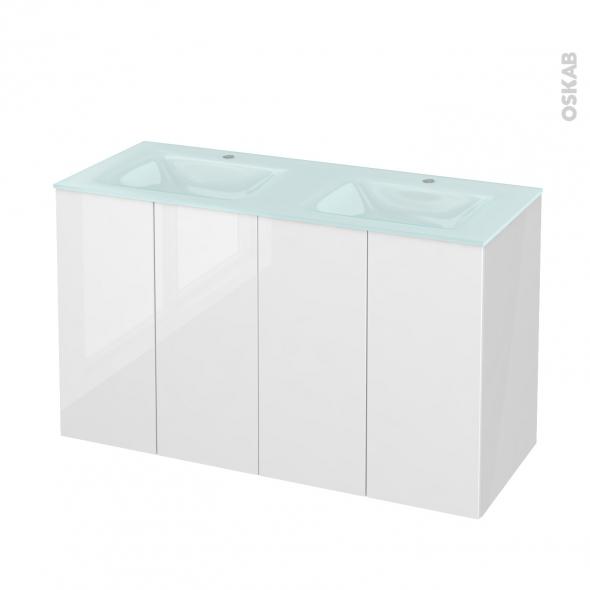 Meuble de salle de bains - Plan double vasque EGEE - STECIA Blanc - 4 portes - Côtés blancs - L120,5 x H71,2 x P50,5 cm