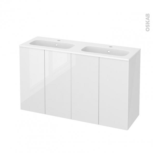 STECIA Blanc - Meuble salle de bains N°731 - Double vasque REZO - 4 portes Prof.40 - L120,5xH71,5xP40,5