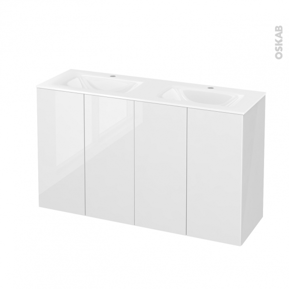 STECIA Blanc - Meuble salle de bains N°731 - Double vasque VALA - 4 portes Prof.40 - L120,5xH71,2xP40,5