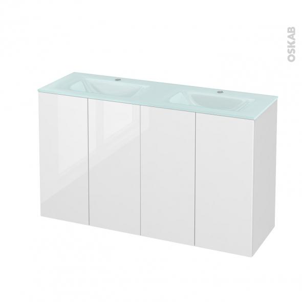 STECIA Blanc - Meuble salle de bains N°732 - Double vasque EGEE - 4 portes Prof.40 - L120,5xH71,2xP40,5
