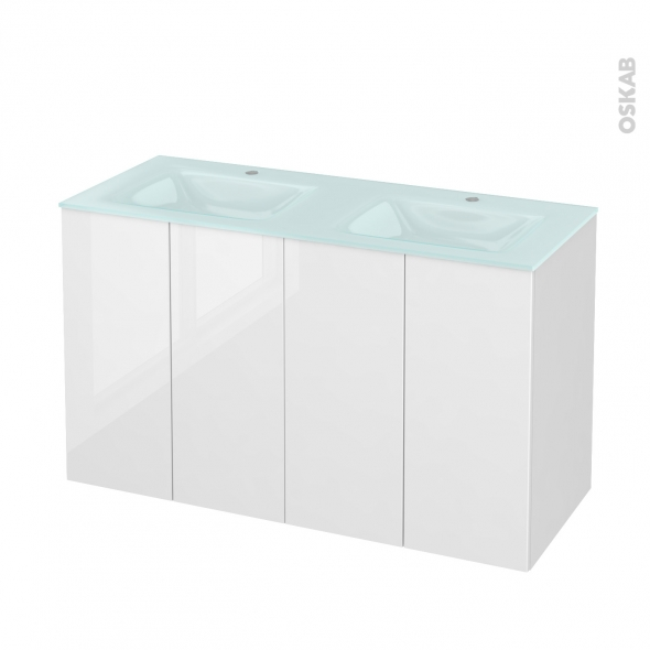 STECIA Blanc - Meuble salle de bains N°732 - Double vasque EGEE - 4 portes  - L120,5xH71,2xP50,5