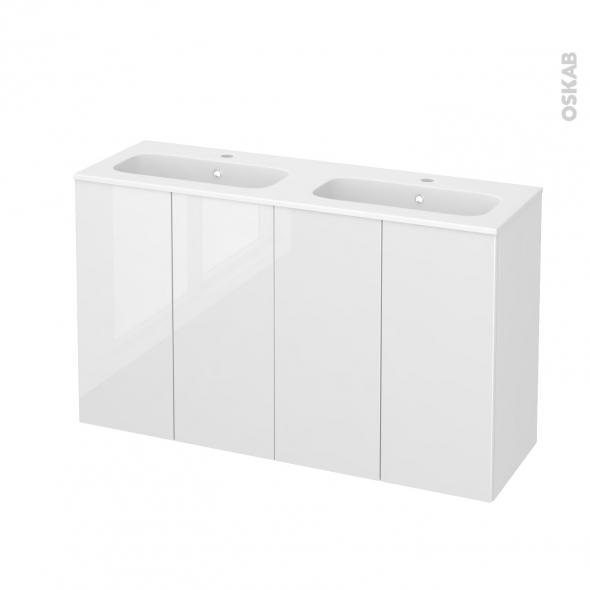 STECIA Blanc - Meuble salle de bains N°732 - Double vasque REZO - 4 portes Prof.40 - L120,5xH71,5xP40,5