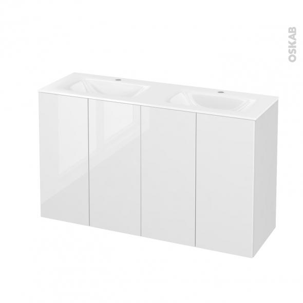STECIA Blanc - Meuble salle de bains N°732 - Double vasque VALA - 4 portes Prof.40 - L120,5xH71,2xP40,5