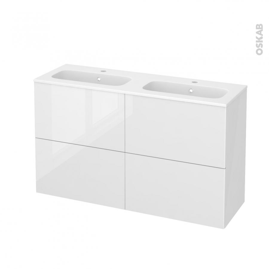 Meuble de salle de bains plan double vasque rezo bora for Meuble salle de bain 120 cm double vasque 3 tiroirs