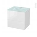 STECIA Blanc - Meuble salle de bains N°621 - Vasque EGEE - 2 tiroirs  - L60,5xH58,2xP50,5