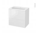 Meuble de salle de bains - Plan vasque REZO - STECIA Blanc - 2 tiroirs - Côtés décors - L60,5 x H58,5 x P40,5 cm