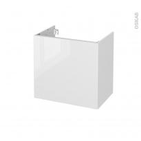 Meuble de salle de bains - Sous vasque - BORA Blanc - 1 porte - Côtés blancs - L60 x H57 x P40 cm