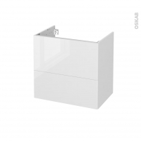 Meuble de salle de bains - Sous vasque - BORA Blanc - 2 tiroirs - Côtés blancs - L60 x H57 x P40 cm