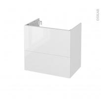 Meuble de salle de bains - Sous vasque - BORA Blanc - 2 tiroirs - Côtés décors - L60 x H57 x P40 cm