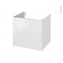 Meuble de salle de bains - Sous vasque - BORA Blanc - 2 tiroirs - Côtés décors - L60 x H57 x P50 cm