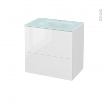 Meuble de salle de bains - Plan vasque EGEE - BORA Blanc - 2 tiroirs - Côtés décors - L60,5 x H58,2 x P40,5 cm