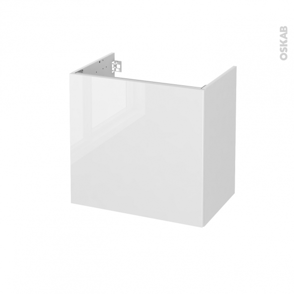 STECIA Blanc - Meuble sous vasque N°161 - Côté blanc - 1 porte prof.40 - L60xH57xP40