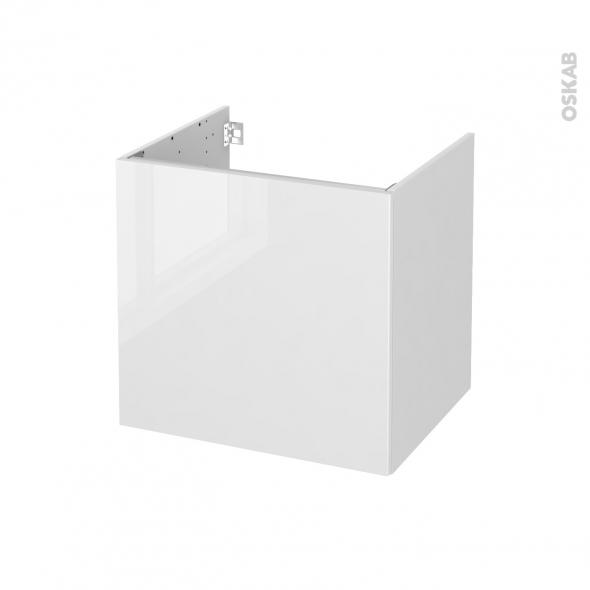 Meuble de salle de bains - Sous vasque - STECIA Blanc - 1 porte - Côtés blancs - L60 x H57 x P50 cm