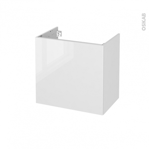 Meuble de salle de bains - Sous vasque - BORA Blanc - 1 porte - Côtés décors - L60 x H57 x P40 cm