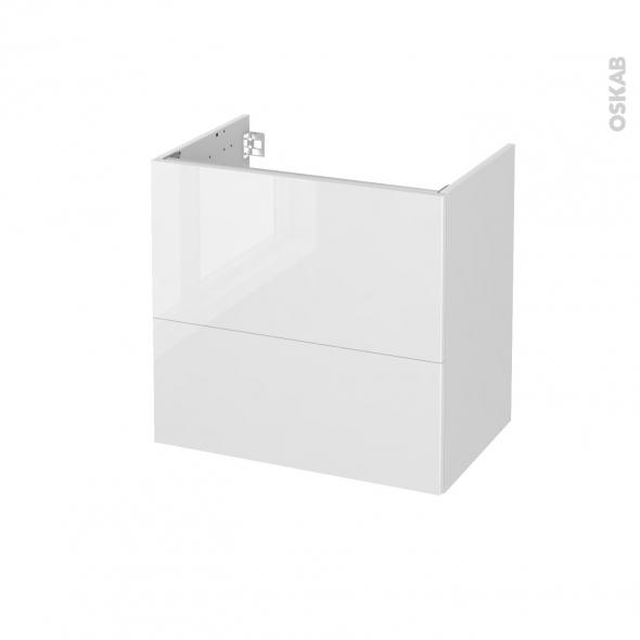 Meuble de salle de bains - Sous vasque - STECIA Blanc - 2 tiroirs - Côtés blancs - L60 x H57 x P40 cm