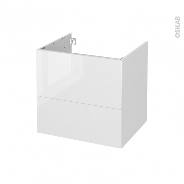 STECIA Blanc - Meuble sous vasque  N°621 - Côté blanc - 2 tiroirs - L60xH57xP50