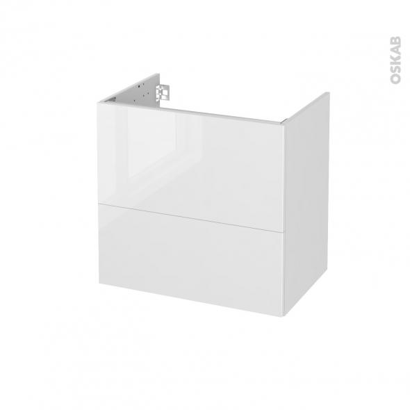 STECIA Blanc - Meuble sous vasque N°622 - Côté décor - 2 tiroirs prof.40 - L60xH57xP40