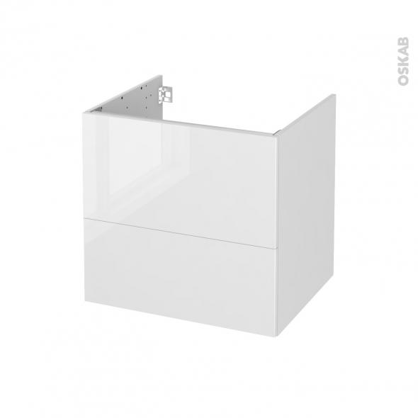 STECIA Blanc - Meuble sous vasque N°622 - Côté décor - 2 tiroirs - L60xH57xP50