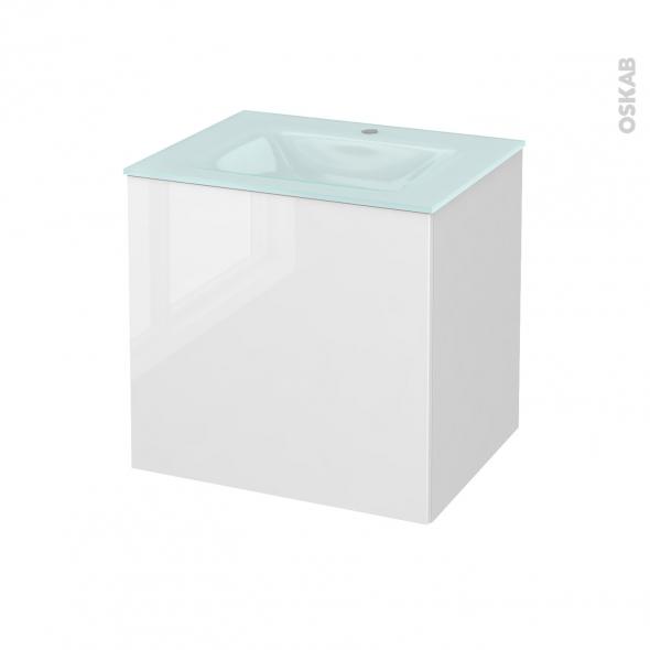 Meuble de salle de bains - Plan vasque EGEE - STECIA Blanc - 1 porte - Côtés blancs - L60,5 x H58,2 x P50,5 cm