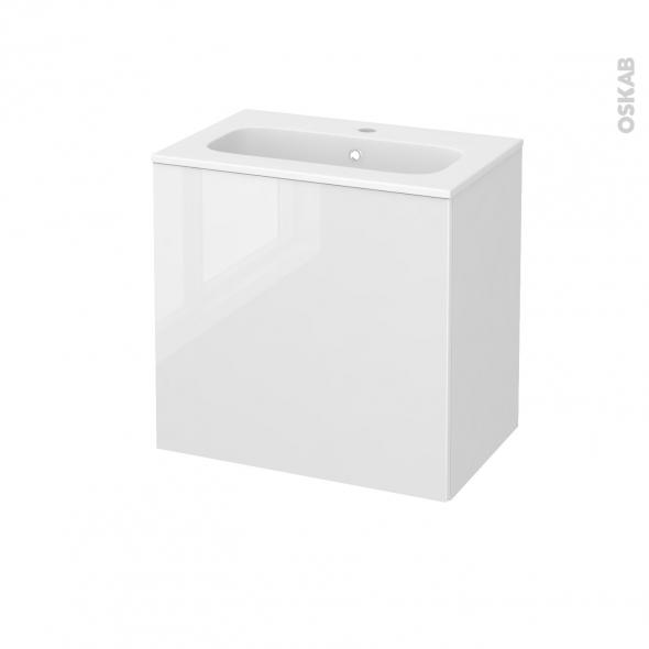 Meuble de salle de bains - Plan vasque REZO - STECIA Blanc - 1 porte - Côtés blancs - L60,5 x H58,5 x P40,5 cm