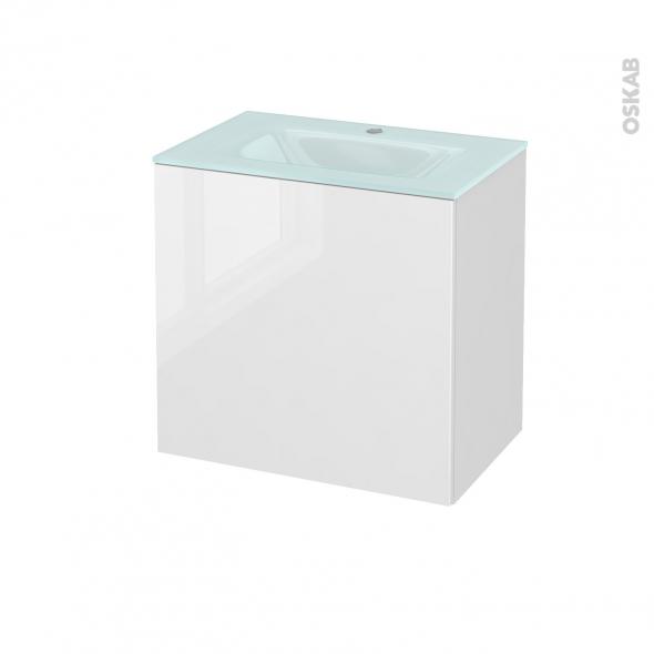 STECIA Blanc - Meuble salle de bains N°162 - Vasque EGEE - 1 porte Prof.40 - L60,5xH58,2xP40,5