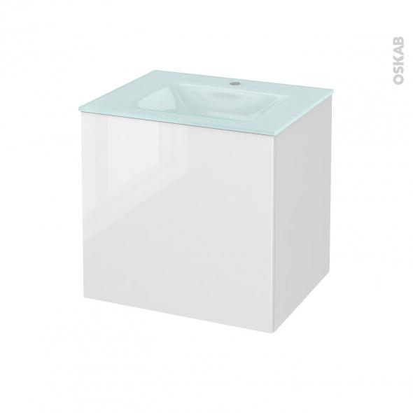 Meuble de salle de bains - Plan vasque EGEE - STECIA Blanc - 1 porte - Côtés décors - L60,5 x H58,2 x P50,5 cm