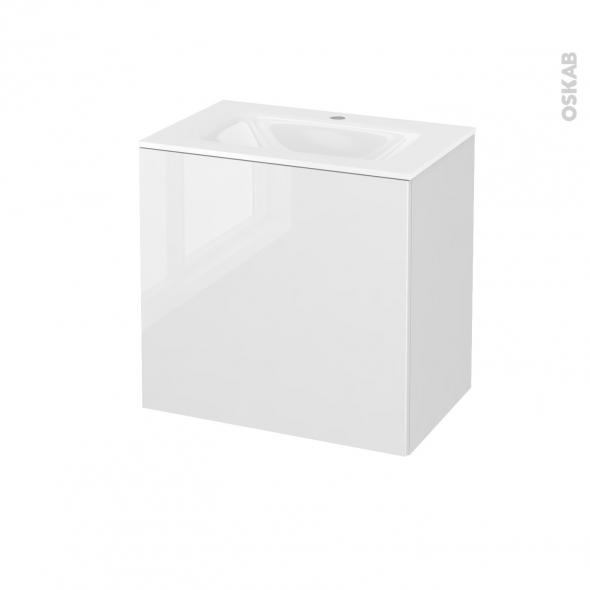 Meuble de salle de bains - Plan vasque VALA - STECIA Blanc - 1 porte - Côtés décors - L60,5 x H58,2 x P40,5 cm