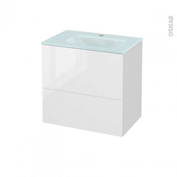 STECIA Blanc - Meuble salle de bains N°621 - Vasque EGEE - 2 tiroirs Prof.40 - L60,5xH58,2xP40,5