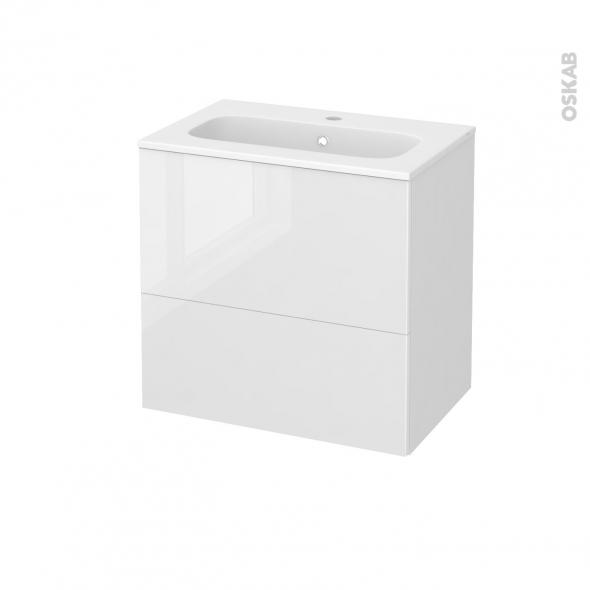 STECIA Blanc - Meuble salle de bains N°621 - Vasque REZO - 2 tiroirs Prof.40 - L60,5xH58,5xP40,5